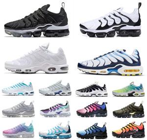 Nike Air Max Vapormax Shoes Le nuove donne di più le scarpe Tn Bianco Blu Aurora Verde, Pallido Aqua Betrue Triple Black Shark dente gioco reale in esecuzione scarpe da tennis