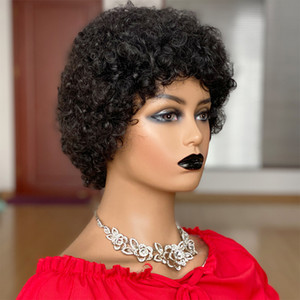 Short Afro Kinky Curly Wig Pixie Cut Wigs Brazilian Remy Hair Afro Puff Human Hair Wigs For Women Full Mahine Made Wigs