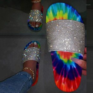 Padegao Mujeres Verano Plano Bling Slippers Moda Crystal Outdoor Beach Ladies Diapositivas Zapatos Zapatos de jalea suave Flip Flops PDG8301