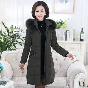 Plus Size 5XL 2020 New Winter Women Natural Fur Hooded Warm Thick Duck Down Long Coats Mother Slim Jacket Parkas Mujer C203