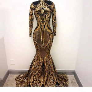 Elegant Muslim Long Sleeves Mermaid Evening Dresses 2019 Sequins Bling Moroccan Kaftan Prom Dress Formal Party Gowns For Women