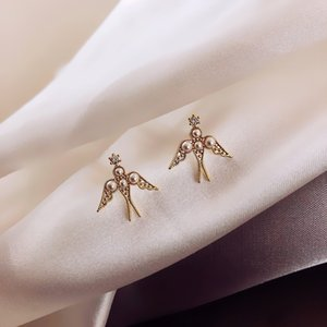 pearl Korea East Gate design sterling silver micro-inlaid South swallow niche and Pearl 925 earrings sense student earrings female FOs4x
