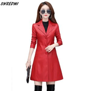 SWREDMI Autumn Winter Long Leather Trench For Girls Oversize S-4XL Leather Coat Women 4Colors Spring Clothing Outerwear