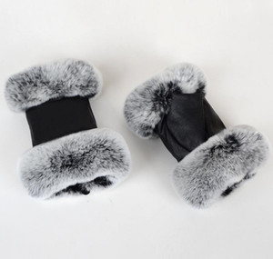 Winter Fashion Black Half Finger Genuine Leather Gloves Sheep Skin Fur Half Finger Fingerles wmtSxv dayupshop