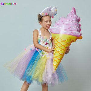 Ice Cream Applique Girls Tutu Dress with Bow Pom-pom Design Kids Sweet Birthday Party Holiday Tulle Dress Children Food Costume Z1127
