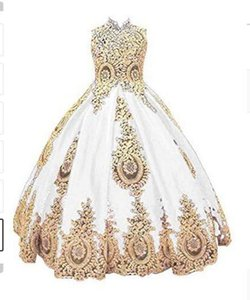 2021 Lovely Gold Lace Flower Girl Dresses for Wedding First Communion Dress for Girls Beaded Pageant Ball Gown