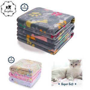 3 Packs Pet Blanket Bed Mats Super Soft Fluffy Premium Fleece Bone Print Warm Flannel Throw for Dog Puppy Cat Y200330