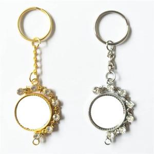 Sublimación Llave en blanco Hebilla Rhinestone Doble Lado Metal Llaveros Mujer Lady Fashion Charm Keys Ring Party Regalo 6 5HY N2