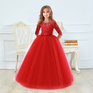 Girls Christmas Dress for Wedding and Party Gown Exquisite Communion Luxury Princess Dress Elegant Lace Girls New Year Costume Q1118