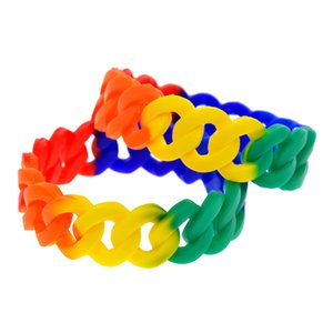 1PC 1 Inch Wide Rainbow Link Band Pride Silicone Rubber Wristband Classic Decoration Jewelry Adult Size