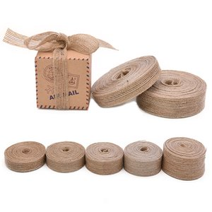10M Multi Sizes Natural Jute Burlap Roll Ribbon Tapes Roll Vintage Rustic Wedding Party Decorations DIY Craft Gift Box Packaging