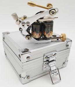 New 1Pc Aluminium Alloy Silver Case and Steel Handmade Iron Tattoo Machine Gun