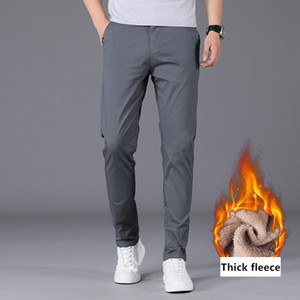 SHAN BAO Men's Slim Fit Winter Casual Pants Fleece Thick Comfortable Warm Classic Brand Clothing Business Solid Color Pants