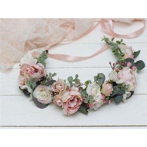 Pink Flowers Crown Festival Tocado Mujeres Accesorios para el cabello Tocado niña Bebé Corona Floral Garland Boda Floral Headwear