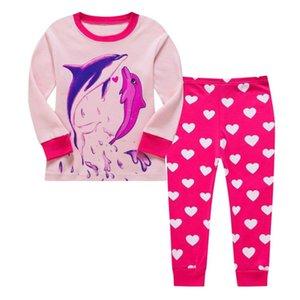 Pijamas infantiles de verano de algodón delgado de algodón largo de color rosa de Dolphin Path Girls 'Wear