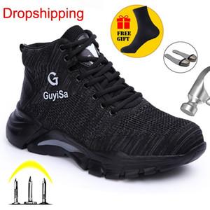 AgileStar Air Mesh Steel Toe Рабочая обувь Дышащая рабочая Обувь Человек Безопасность Легкие Проколостые Защитные Ботинки Dropshipping Y200915