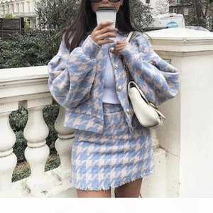 2018 Women Vintage Skirt Sets Winter Ladies Woolen Tweed Jacket+ Short Skirt Suits Elegant Two Pieces Sets Y200110