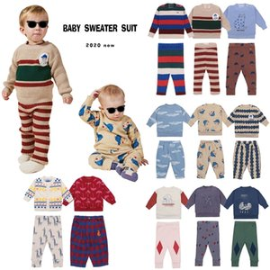 Bebek Giysileri Seti Sonbahar Kış Strafina BC Erkek Kız Örme Kazak Pantolon Çocuklar En Kazak Hırka Çocuk Tayt 201112
