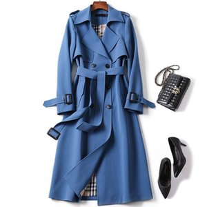 Women's Long Trench Coats 2020 New Autumn Lapel Double Breasted Slim Windbreaker Korean Elegant Belted Solid Coat Ladies Outwear LJ201128