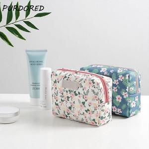 PURDORED 1 pc Floral Pattern Cosmetic Bag Korean Style Mini Women Makeup Bag Travel Wash Bag Mini Lipstick Beauty CaseOrganizer