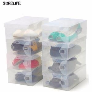 6pcs Children women men Transparent Makeup Organizer Clear Plastic Shoes Storage Boxes Foldable Shoes Case Hol bbyDQs