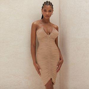 2021 Summer Sleeveless Midi Bodycon Dress Backless Sexy Women Dress Club Wear Elegant Mesh Party Dresses Free Shipping