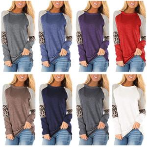 Ins Frauen T-shirt Leopard Striped Print Bluse Langarm Oansatz T-Shirt Pullover Kontrast Farbe Hemden Frühling Blusen Dame Top Kleidung 2XL