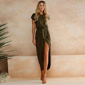 MRMT 2020 Brand New Womens Dress Short Sleeve Round Neck Solid Color Dress for Female Irregular
