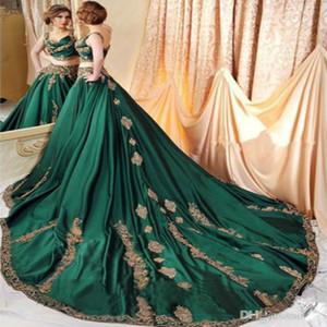 Chic Indian Abaya Green 2 шт. Платья выпускного вечера с золотой кружевной аппликацией сексуальные ремни Саудовская арабская кафтанское платье вечерняя одежда формальные вечеринки