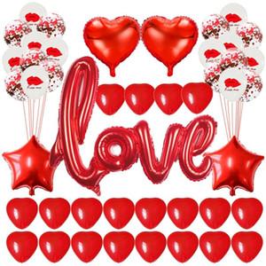 Kırmızı Aşk Mektubu Folyo Balonlar Kalp Balon Nişan Düğün Dekorasyon Için Sevgililer Günü Parti Dekor