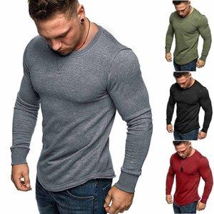 Men Sweatshirts Hoodies Autumn Casual Pure Color O-Neck Splicing Long Sleeve Shirt Fashion Long Sleeve Blouse Top Streetwear #40