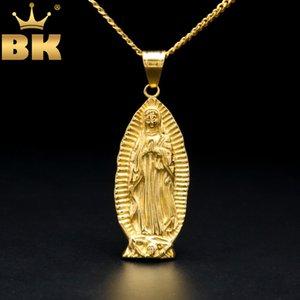 Grande Dio Santa Madre Virgin Maria Ciondolo Ciondolo Giallo Giallo Colore Giallo con Collana Catena Curb Curb 5mm per uomo e donna Q1129