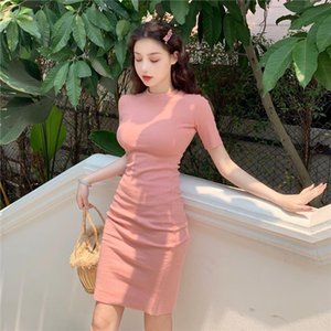 Women Sweet Slim Dress Fashion Solid Female Summer Short Sleeve Mini Dress 2019 Vintage O Neck Sexy Ladies Slim Sheath