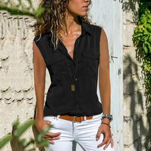 New Summer Ladies Shirt Solid Color Pocket Button Lapel Sleeveless Shirt Women Clothing Women Shirts