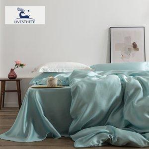 LIV-ESTHETE رومانسية 100٪ الحرير مجموعة مفروشات التوت الجمال الحرير مجموعة جمال لحاف غطاء وسادة مزدوجة الملكة الملك ورقة T200706