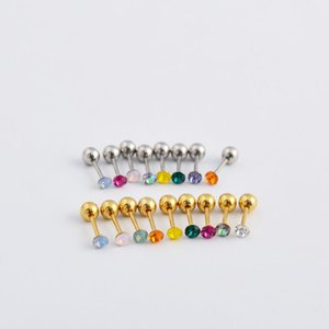 High-quality hot stainless steel ear bone nails with Ball , Crystal Zircon earrings, stud piercing plugs tunnel jewelry wholesale
