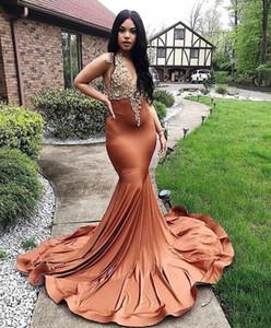 Sexy Generous African Mermaid Prom Dresses Lace Applique V Neck Sweep Train Formal Dress Evening Party Wear Vestidos De Fiesta ogstuff