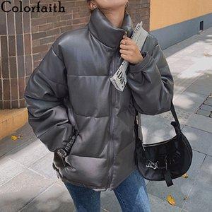 Colorfaith Novo 2020 Outono Inverno Mulheres Casacos Quilted Puffer Parkas de Alta Qualidade Quente PU Couro Supersize Casaco curto LJ201127