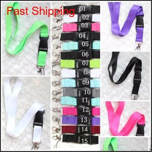 Lanyards Clothes Cellphone Lanyards Key Chain Necklace Work Id Card Neck Fashion Strap Custom Logo Black For Phone 24 Colors Qmr06 Nf4 Ypqk9