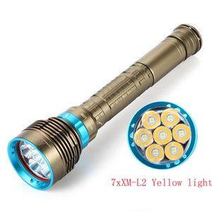 Nuova impermeabile IP8 Warm White Bianco Torcia di immersione Torcia Led Diving 7 x XM-L L2 7000 Lumen Tactical Giallo / Bianco LED Torch 201207