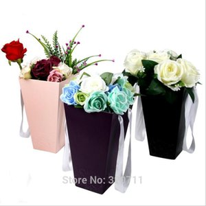 60Pcs Pure Color Flower Paper Boxes With Handhold Hug Bucket Florist Gift Packaging Box Party Gift Packing Cardboard 15*27*9 CM