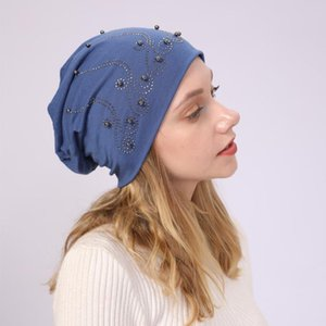 Women's Double-layer Cotton Pearl Hot Drill Hooded Cap Warm Confinement Hat Thin Casual Pile Beanies Hat