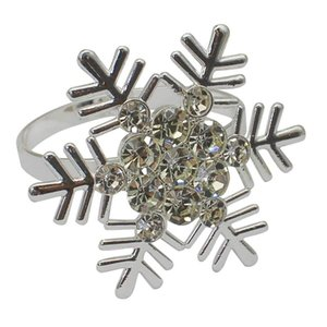 Set of 10 Silver Snowflake Christmas Napkin Rings for Dining Table Setting- Rustic Dinner Tables Setting Decoration
