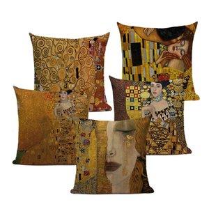 Ретро абстрактный бросок подушки подушки Gustav Klimt императрица подушка крышки окрашиваний маслом подушки декоративные диваны подушки Cousen