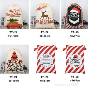 32 STYLES Christmas Gift 50*70cm Organic Heavy Canvas Drawstring Bag With Reindeers Santa Claus Sack Bags OWB1737