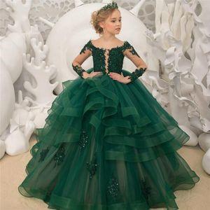 Long Sleeves Ball Gown Dark Green Flower Girl Dresses Beaded Applique Lace Communion Dress Pageant Dresses for Girls