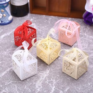 10pcs Container Gift Box Party Decor Christmas Paper Butterfly Hollow Covers Packaging Wedding Dessert Package Storage