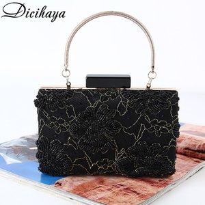 DICIHAYA Brand Design Women Beaded Flowers Handbags With Pocket Money Purse Wristlet Clutch Bag Evening Bags For Party Wedding Q1117