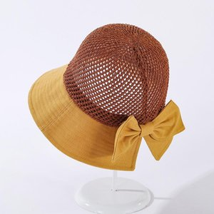 Cokk Summer Hats For Women Knitted Breathable Foldable Sun Hat With Bow Sun Protection Sunshade Korean Beach Hat Cap Travel New Swy sqcPOe