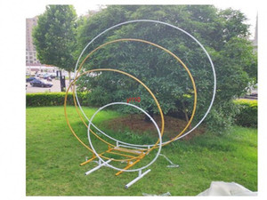 wedding props birthday party decor wrought iron circle round ring arch backdrop lawn artificial flower row stand wall shelf